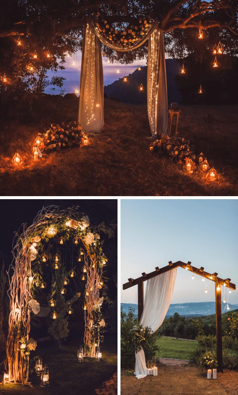 Lichterdeko Hochzeit, freie Trauung