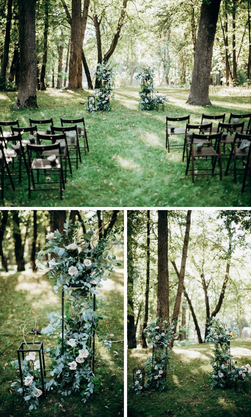 Trauung im Wald, Hochzeit im Grünen, Trauung Deko