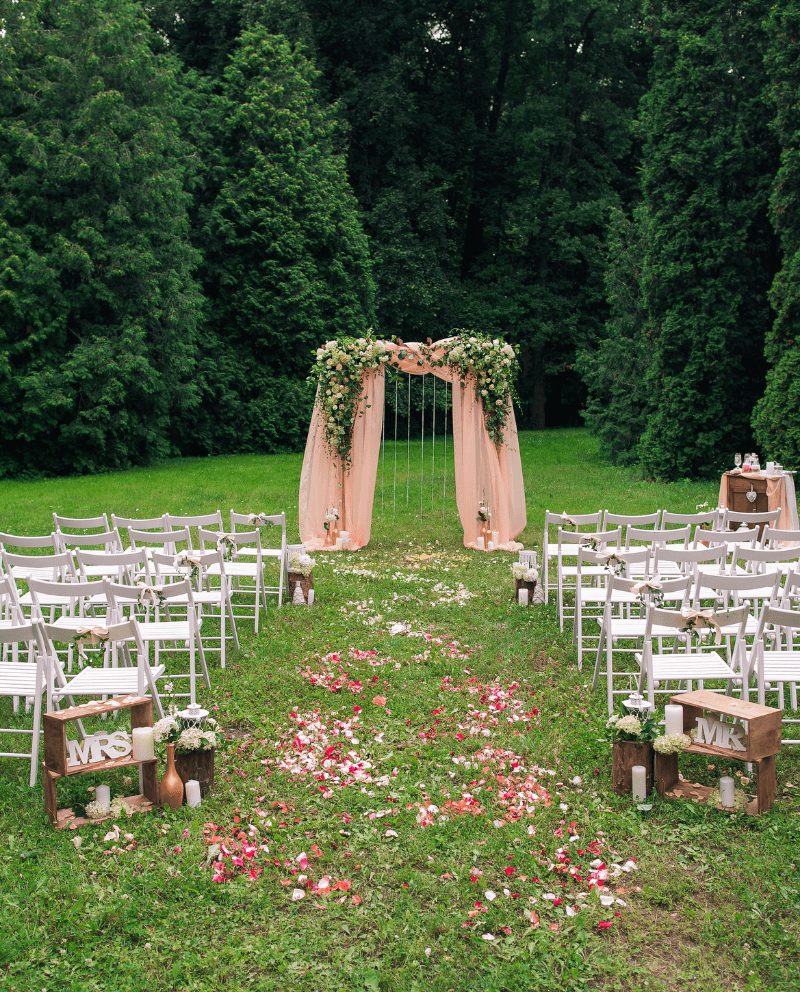 Trauung im Freien, Vintage Hochzeit
