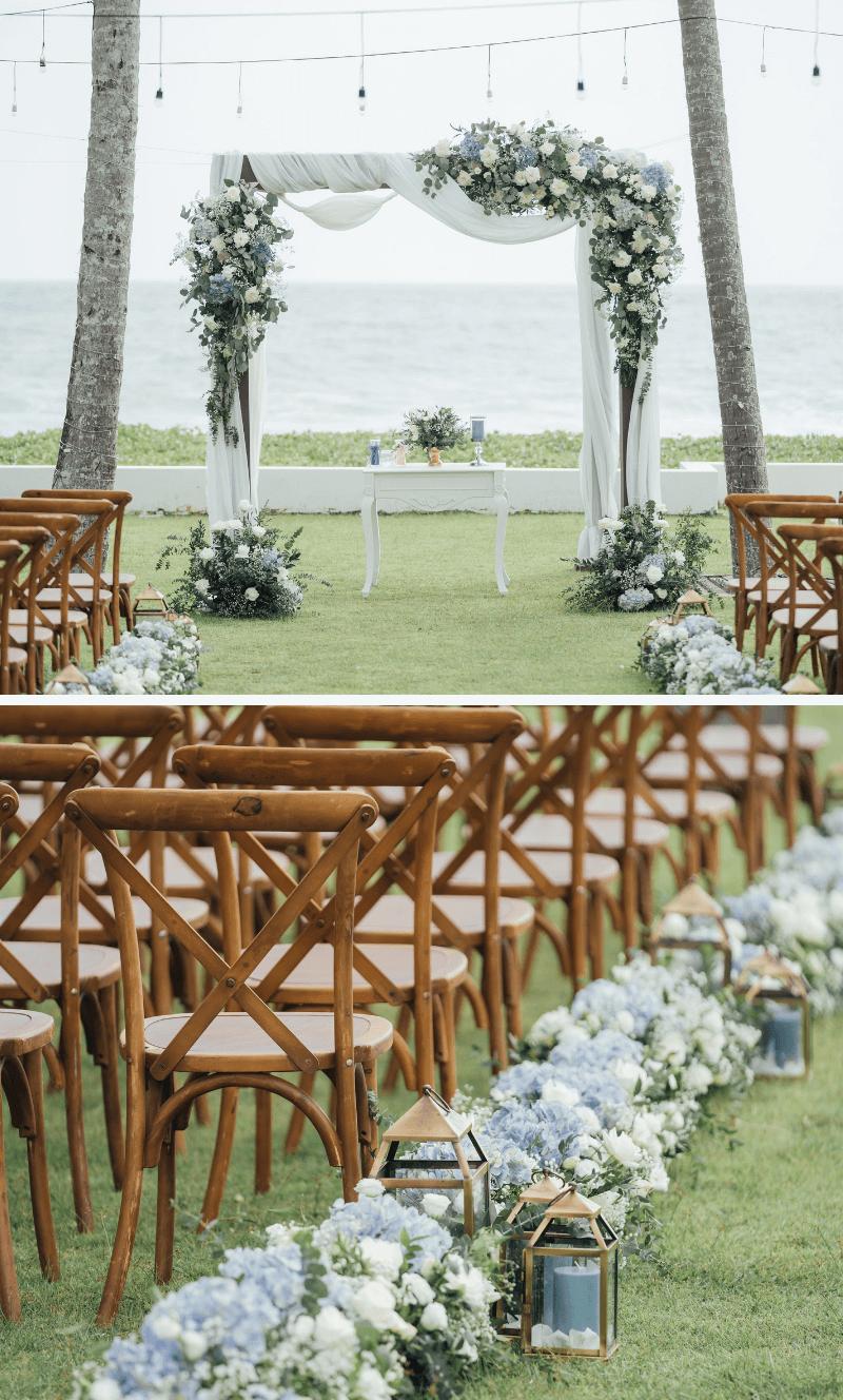 Trauung im Freien, Blumendeko Trauung, elegante Hochzeitsdeko