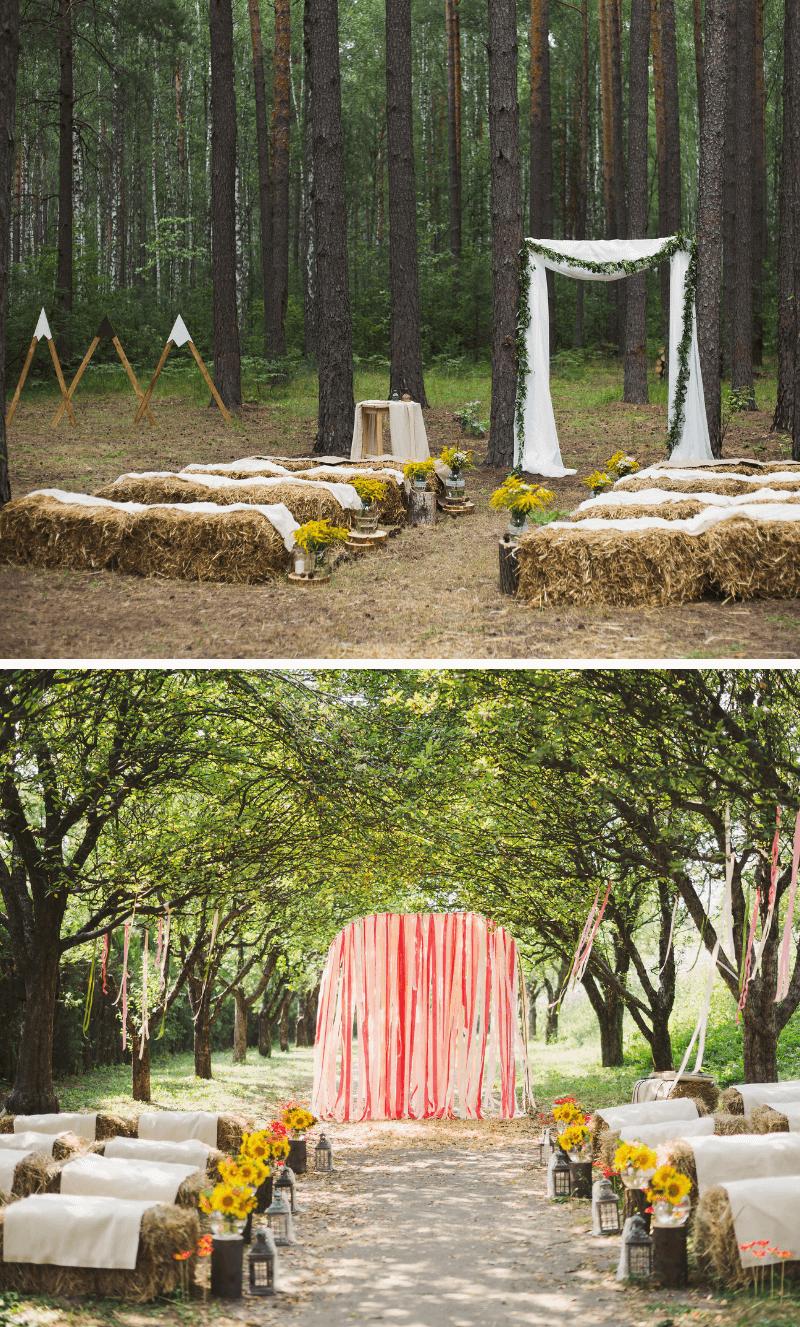rustikale Hochzeit, Trauung draußen, Hochzeit im Wald