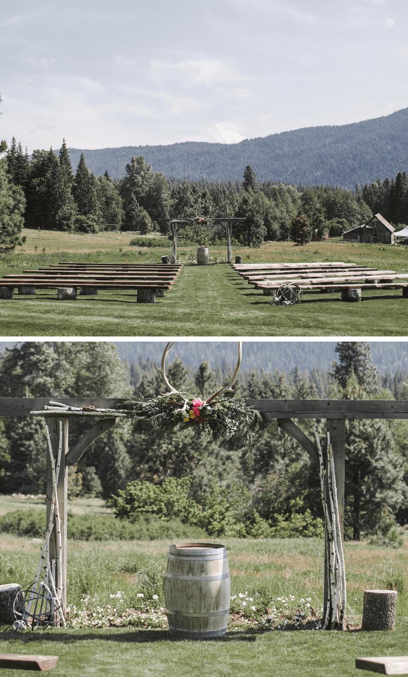rustikale Hochzeit, Trauung Holzdeko