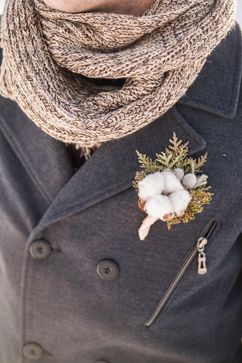 Bräutigam Anstecker, Winterhochzeit