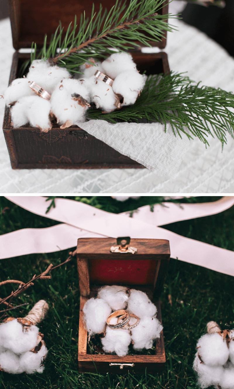 Ringschachtel rustikal mit Baumwolle