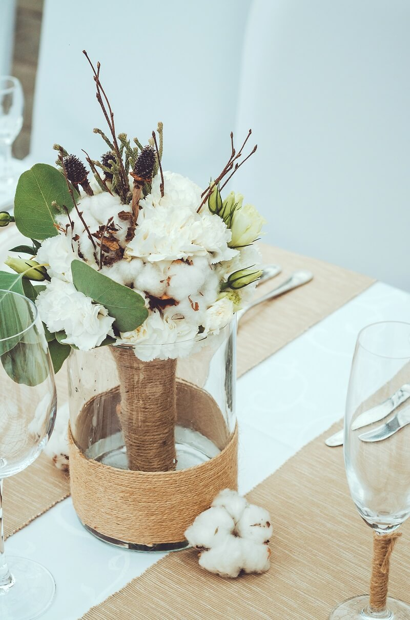 Tischdeko Herbst mit Baumwolle