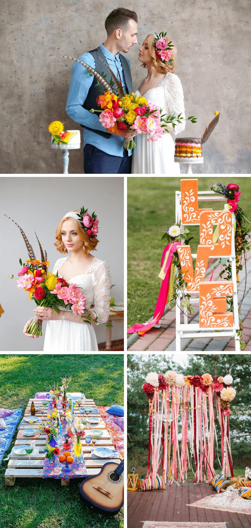 Boho Hochzeit bunt, Flower Power Hochzeit