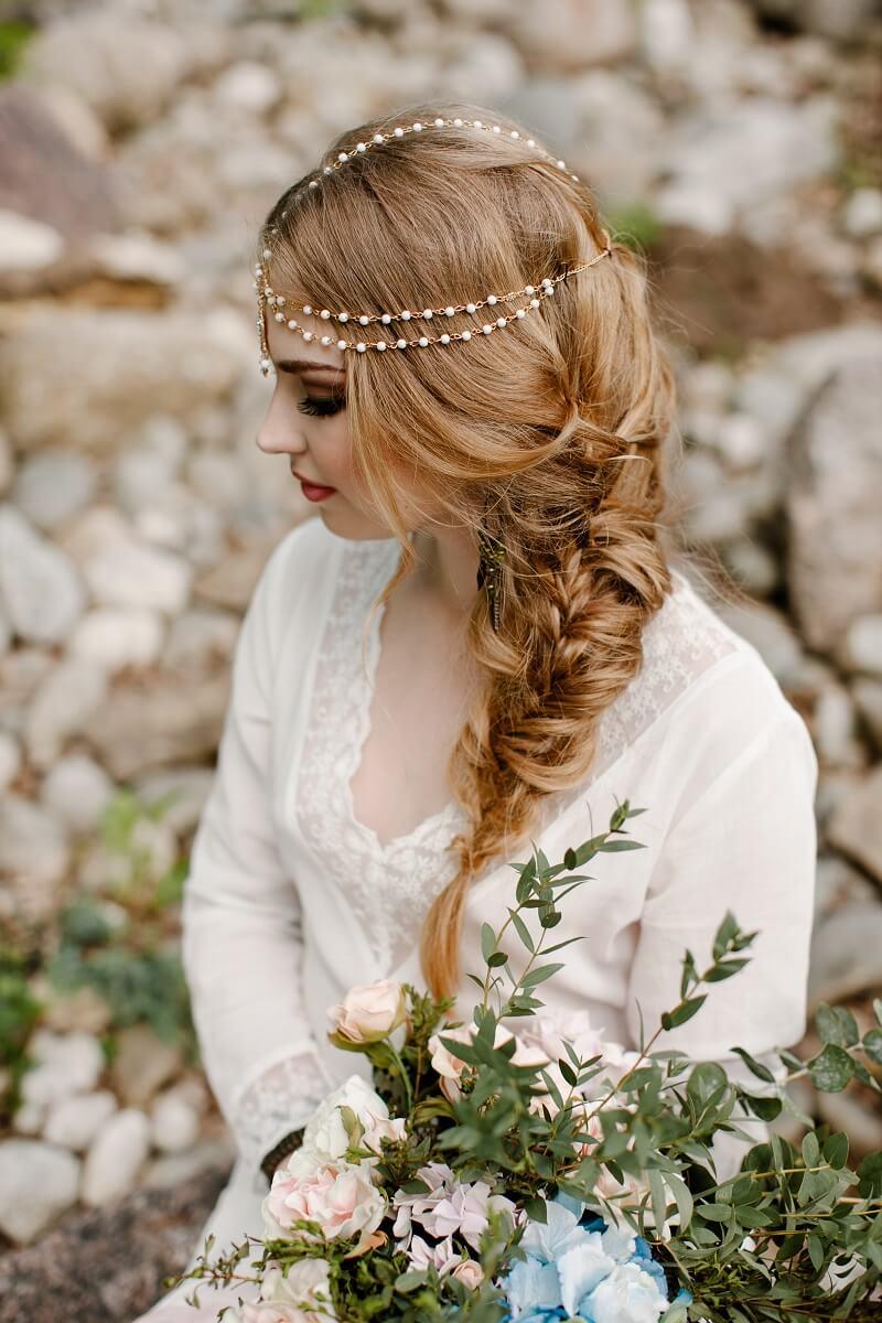 Boho Brautfrisur seitlich