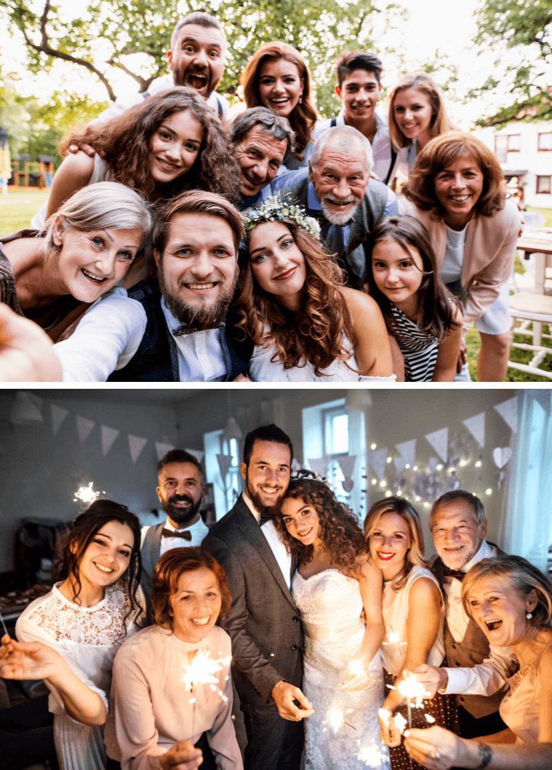Hochzeit Gruppenfoto mit Familie