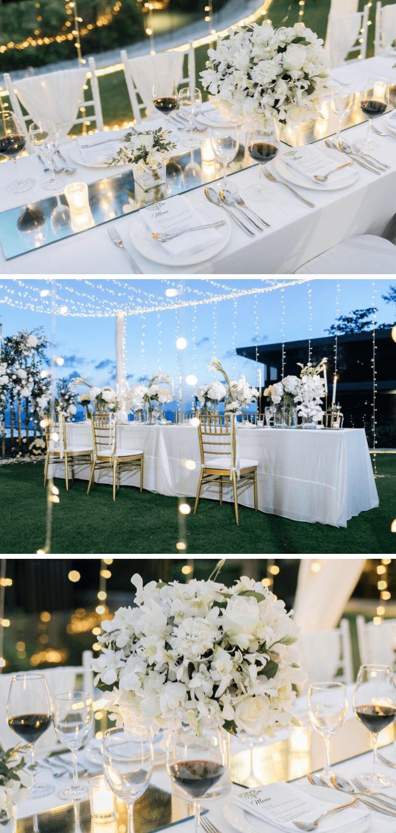 Tischdeko Hochzeit elegant weiß