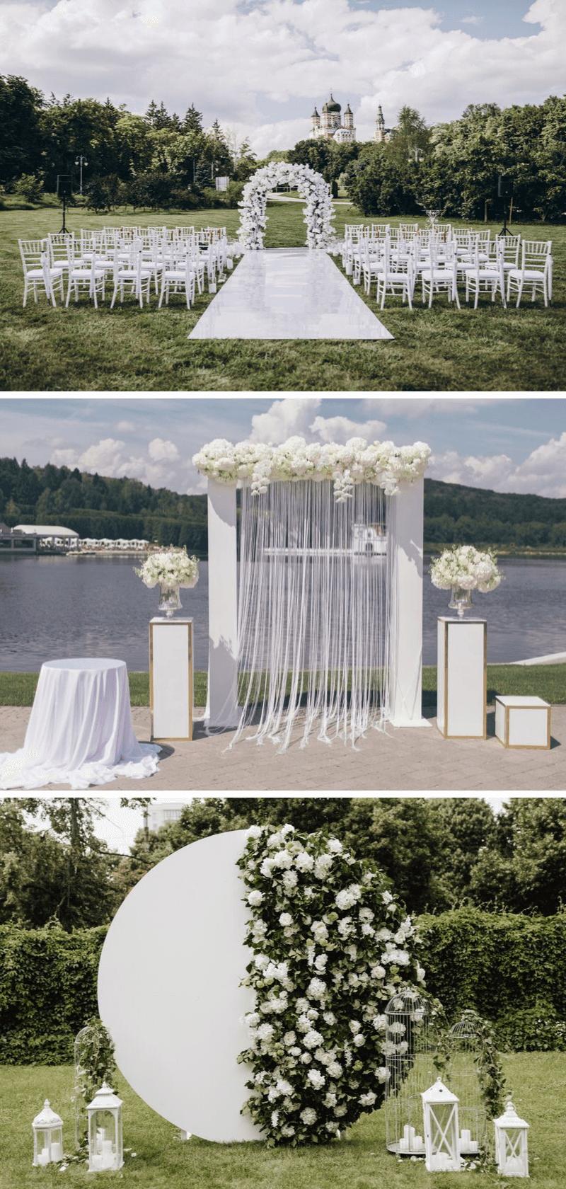 Trauung im Freien, Hochzeitsdeko weiß