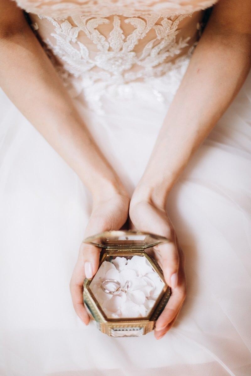 Ringkissen Alternative, Ring Schatulle Hochzeit weiß