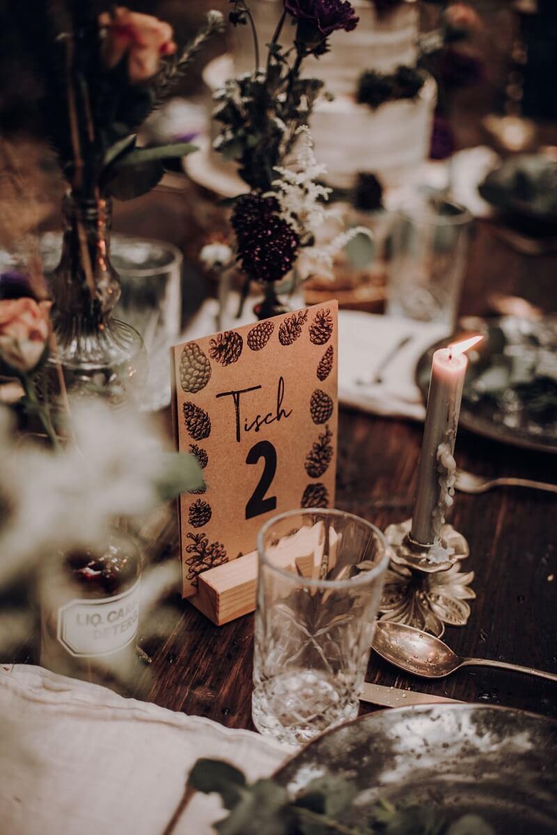 Tischnummern Waldhochzeit
