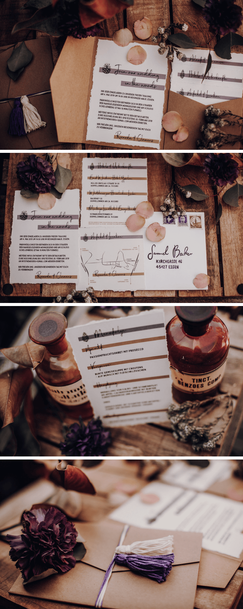 Hochzeitskarten Waldhochzeit, Hochzeitseinladung, Hochzeit im Wald