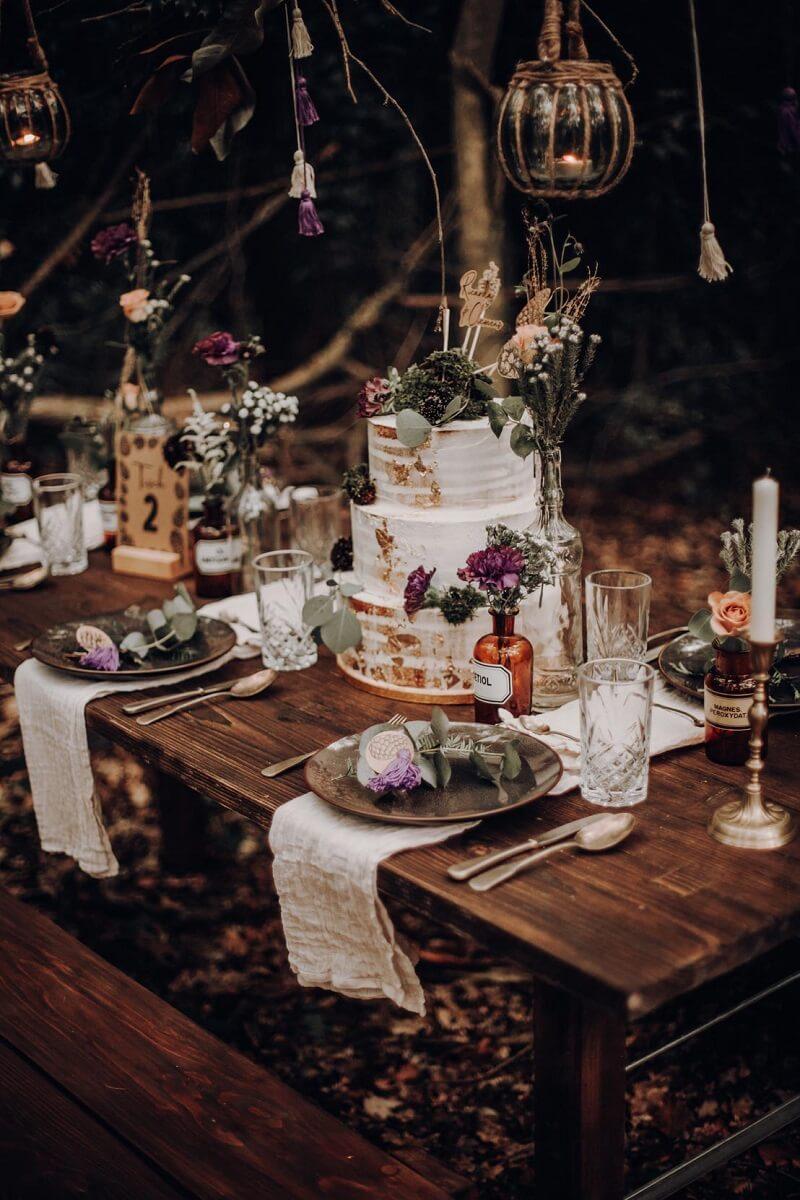 Waldhochzeit Tischdeko, Tischdeko Boho und vintage