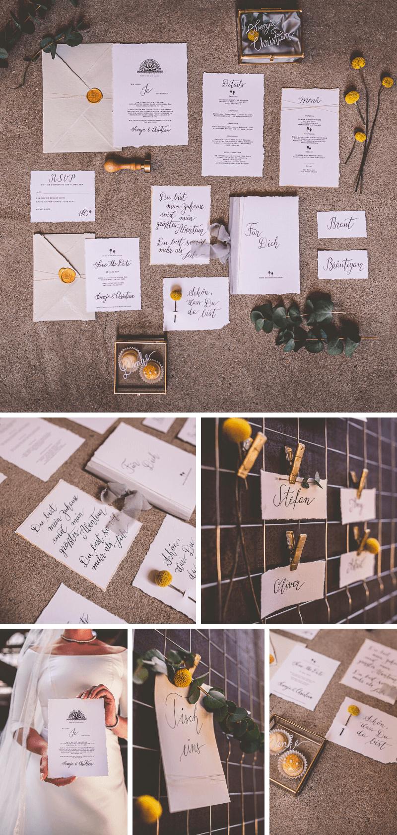 Hochzeitskarten minimalistisch mit Kalligraphie