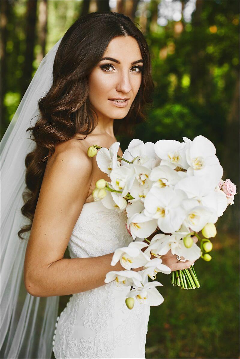 Wunderschöner eleganter Brautstrauß mit Orchideen