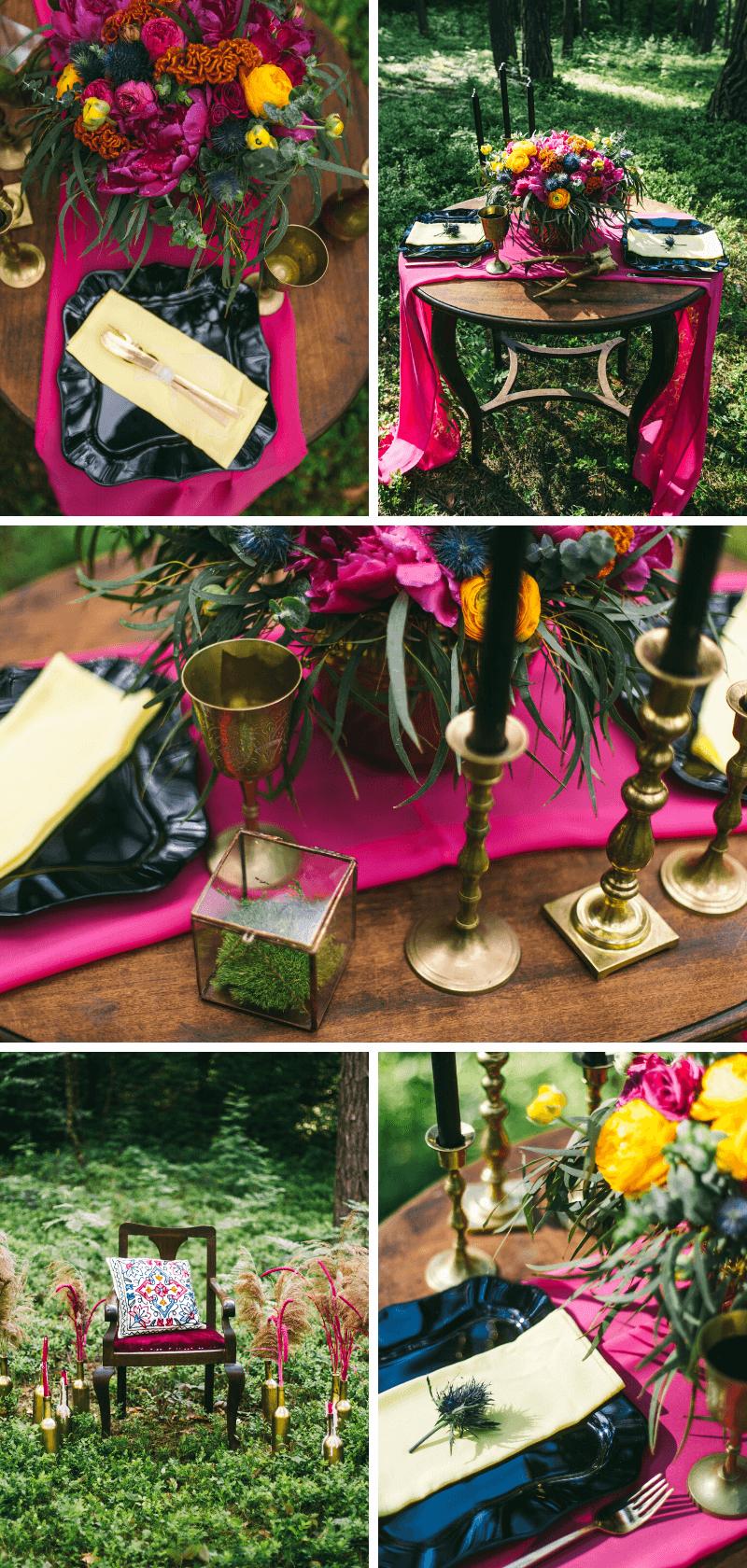 Hochzeit Tischdeko magenta