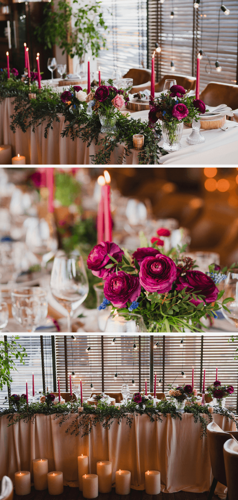 Hochzeitstisch Deko Fuchsia