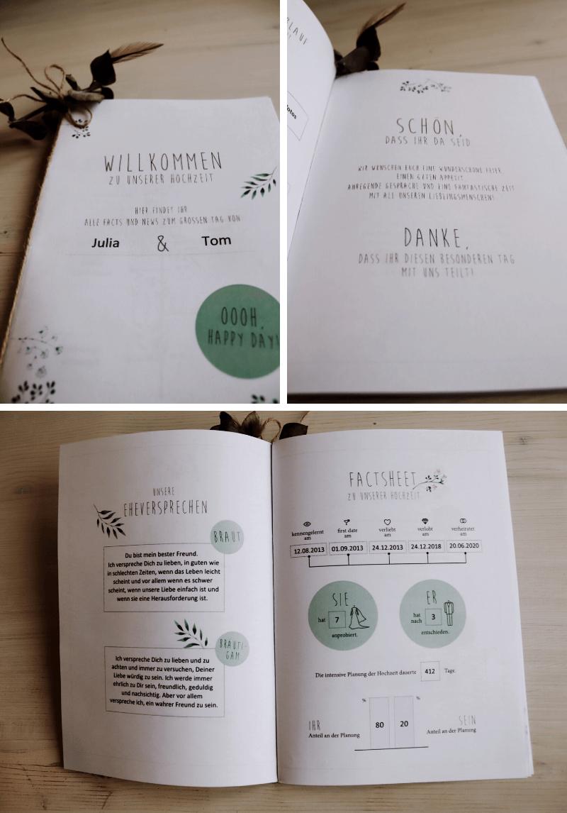 DIY Hochzeitsidee Willkommensheft
