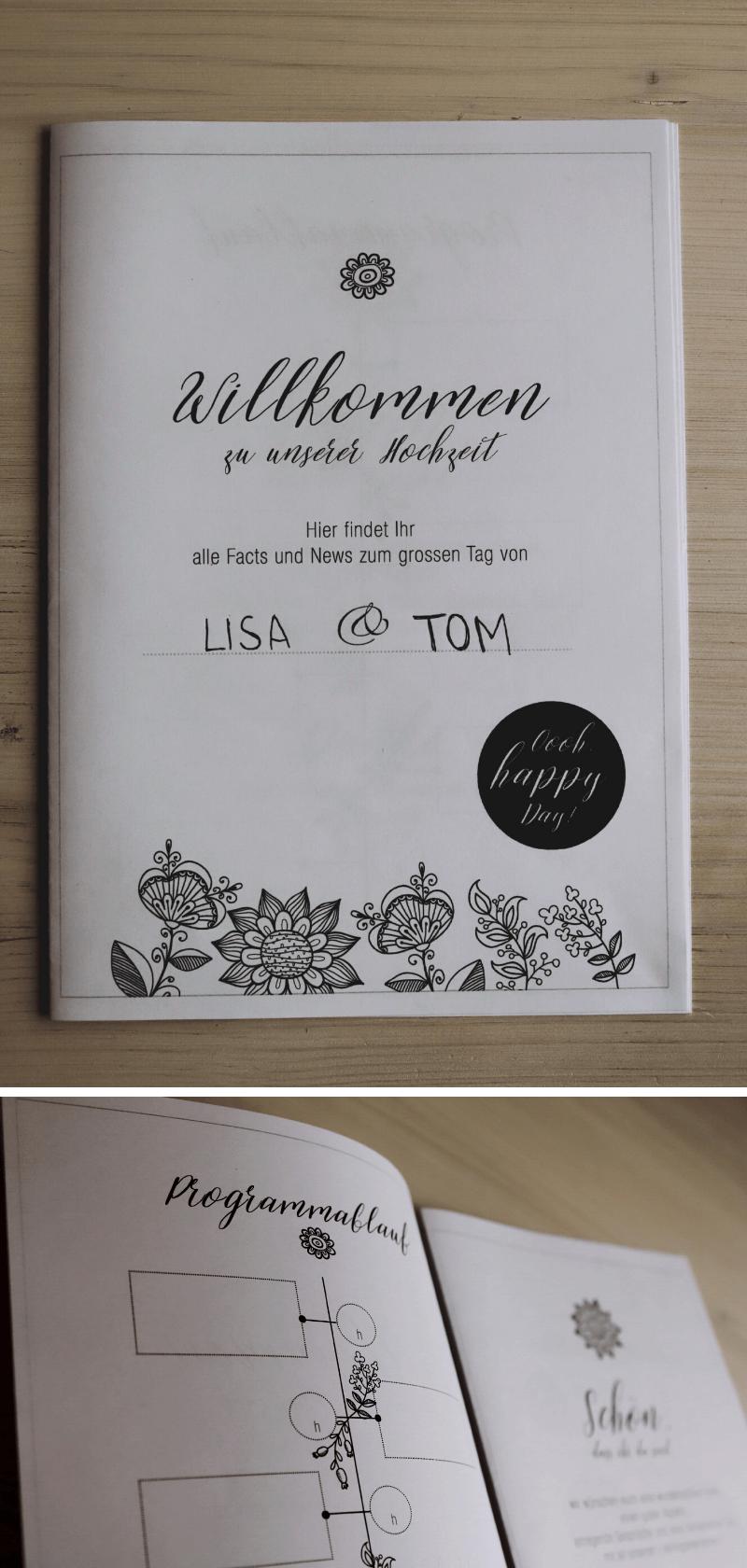 Infoheft zur Hochzeit, DIY Hochzeit