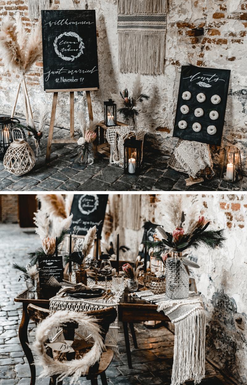 Boho Hochzeitsdeko, Moody Hochzeit