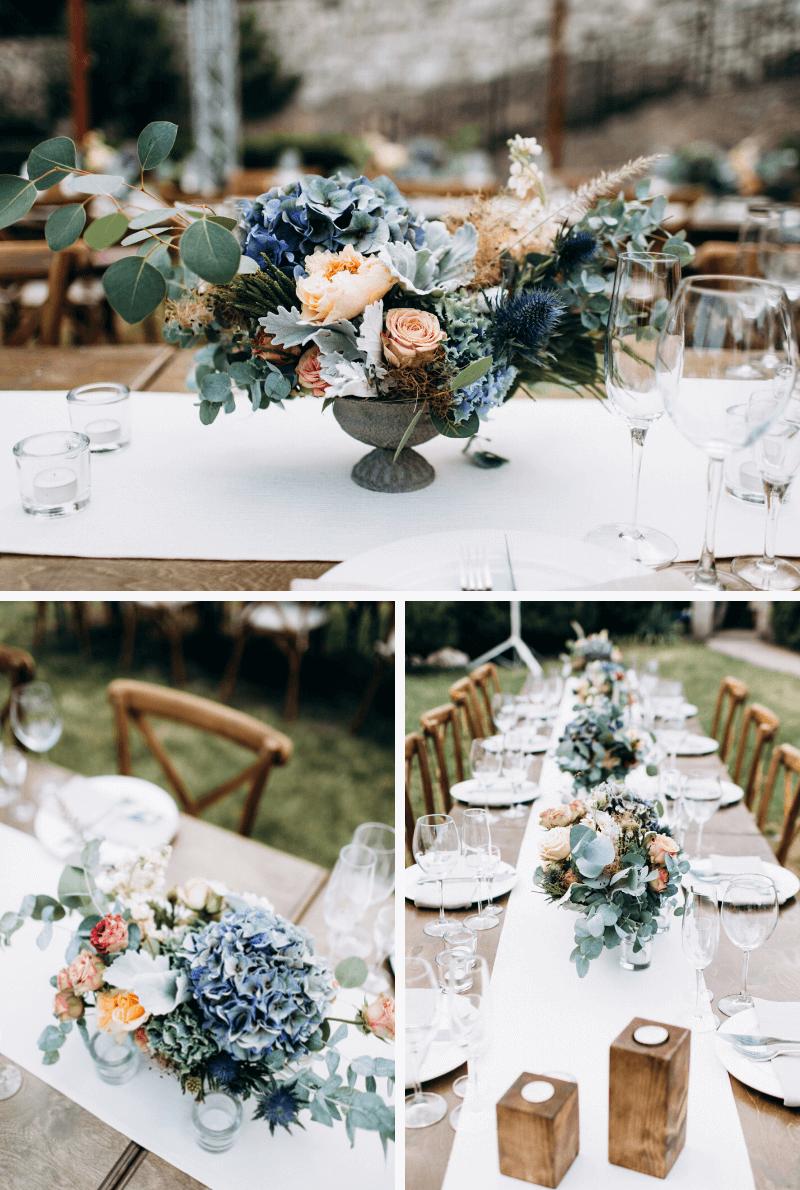 Tischblumen blau Hochzeit