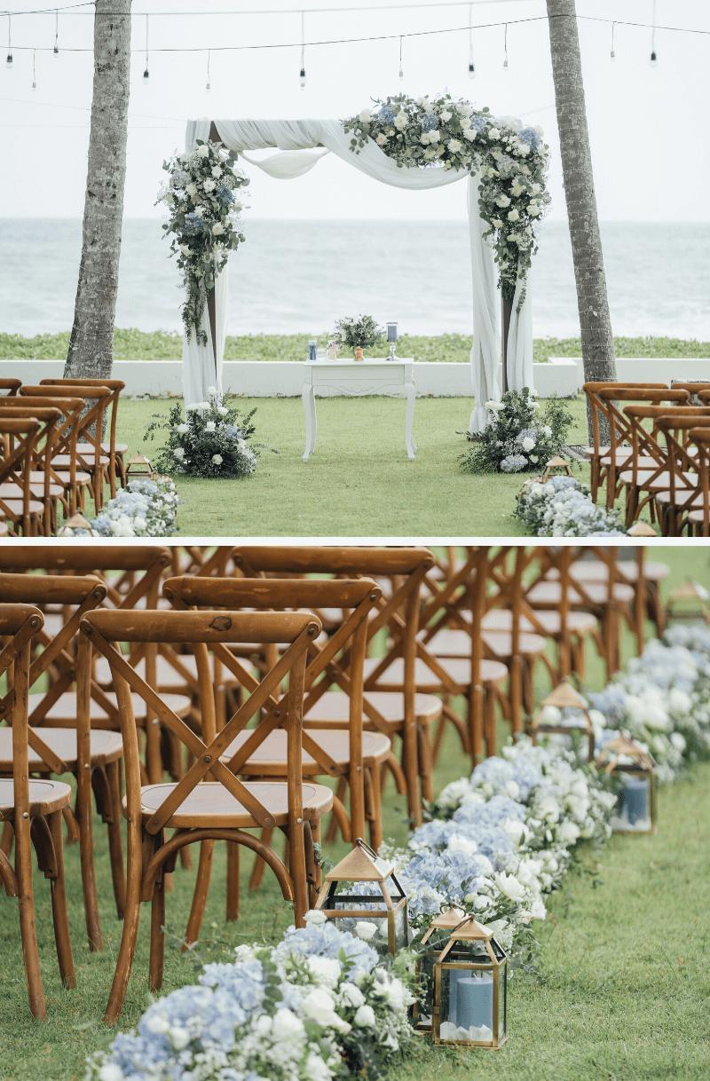Hochzeitsblumen Deko blau