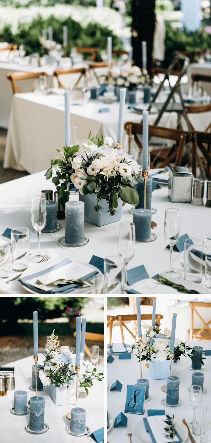elegante Tischdeko dusty blue