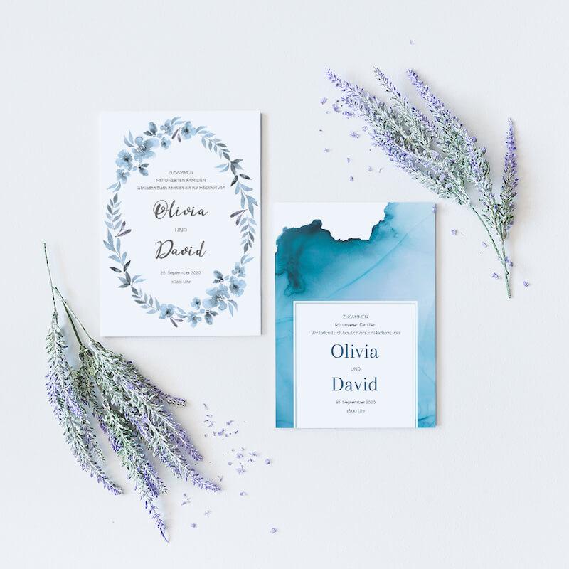 Einladungskarten Hochzeit Aquarell blau