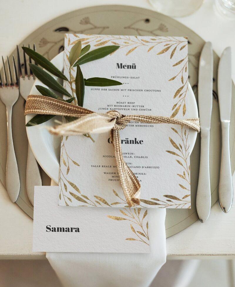 Menükarte zur Hochzeit, Hochzeitskarten gold