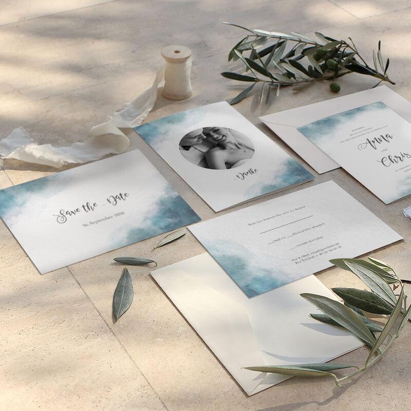 Einladungskarten Aquarell in blau