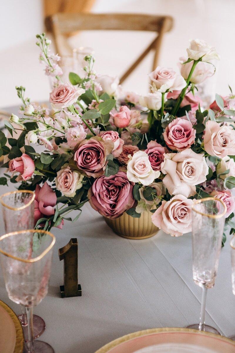 Hochzeitsblumen Tischdeko Rosa