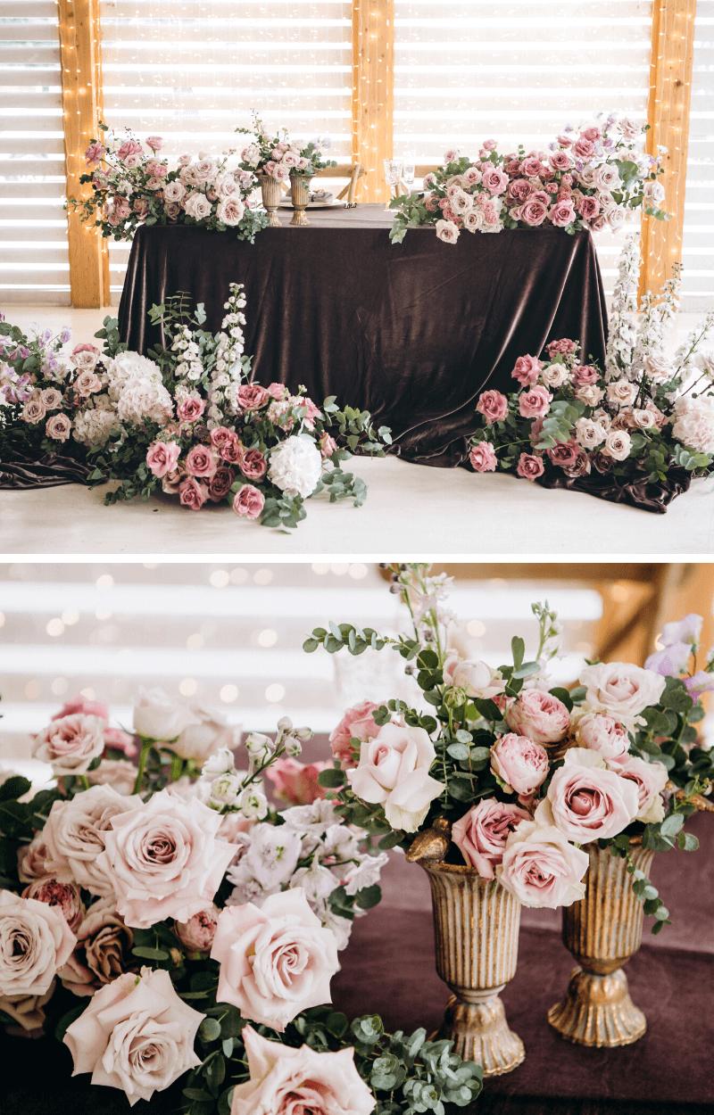 Hochzeitsblumen Deko Brauttisch Rosa