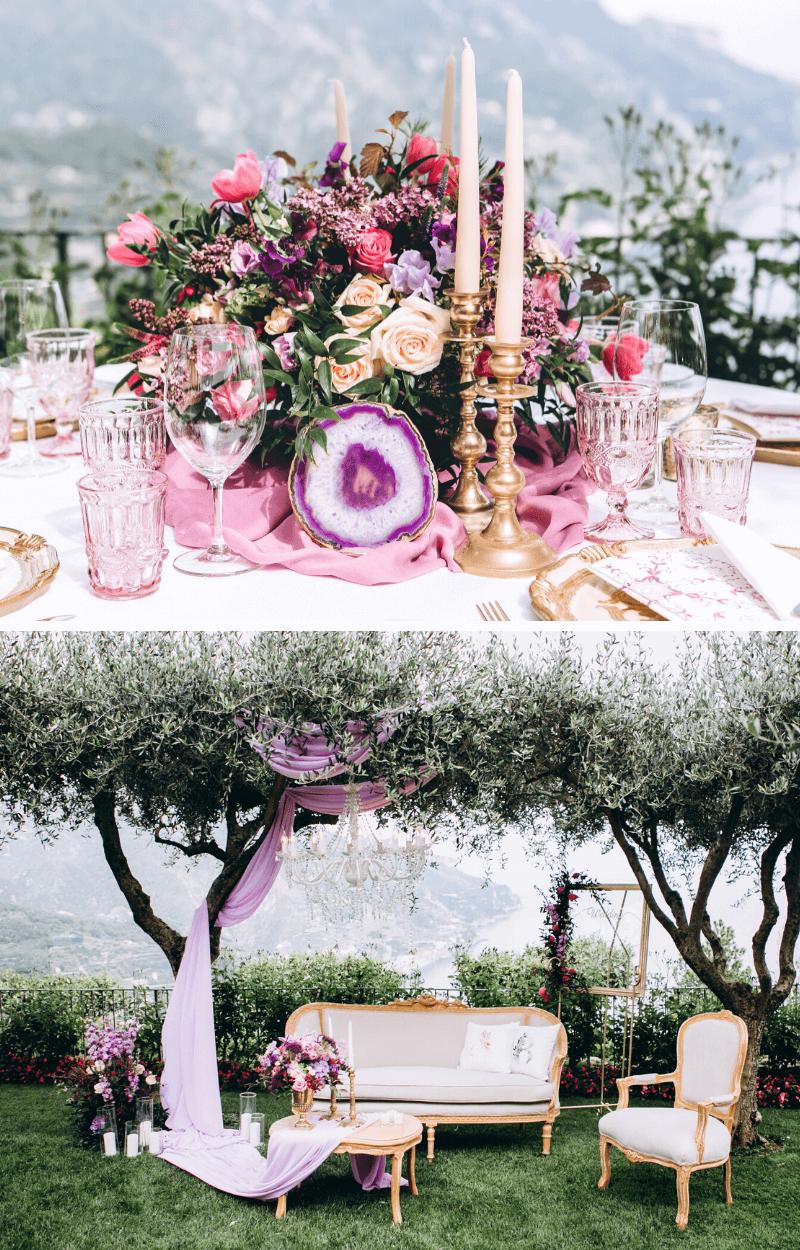 Hochzeitsblumen Deko Rosa Lila