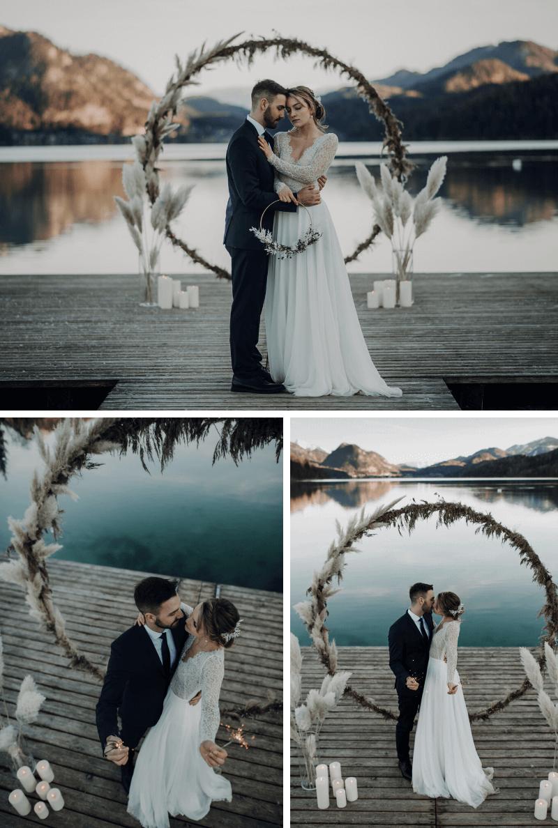 Hochzeitsbogen rund, Winterhochzeit am See
