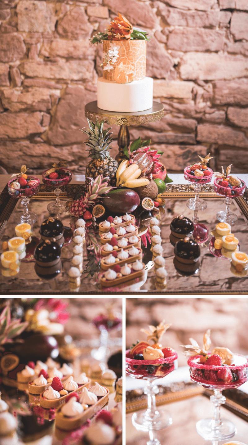 Sommer Hochzeitstorte und Sweet Table tropisch