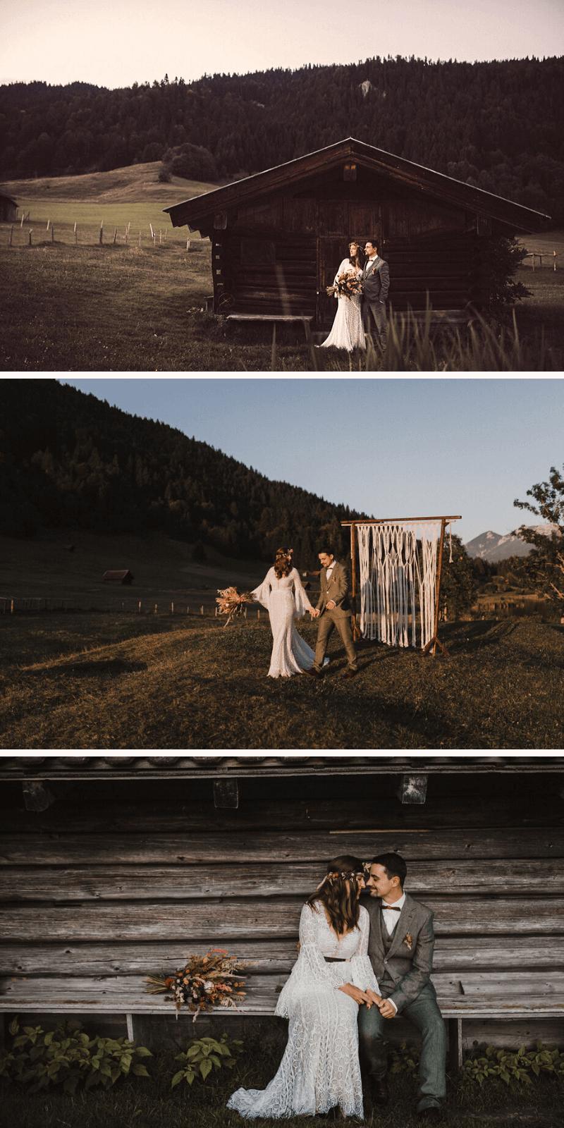 Brautpaarshooting auf dem Land, Ideen Hochzeitsfotos