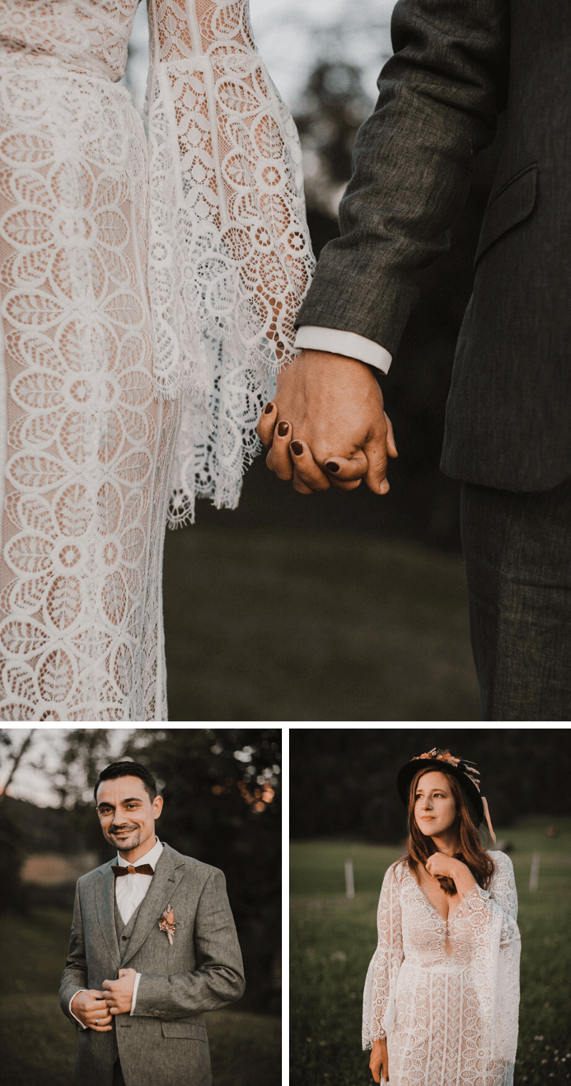 Boho Brautpaarshooting, Hochzeitsfotos Ideen