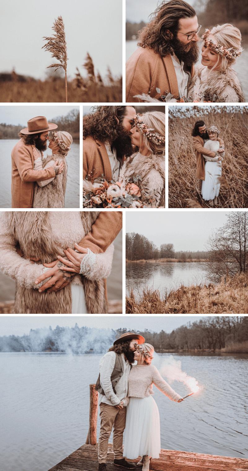 Boho meets Rustic Hochzeit, Brautpaarshooting Winter