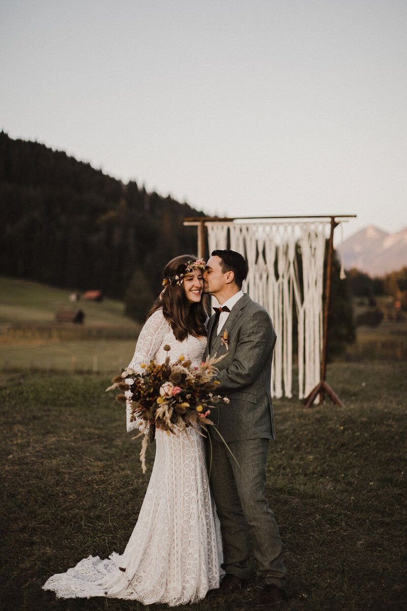 Boho Hochzeit, Brautpaarshooting