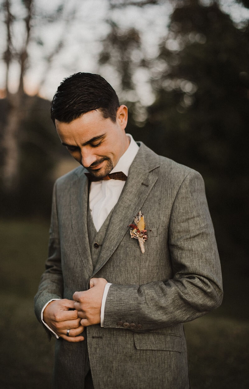 Bräutigam Anzug grau, Boho Bräutigam