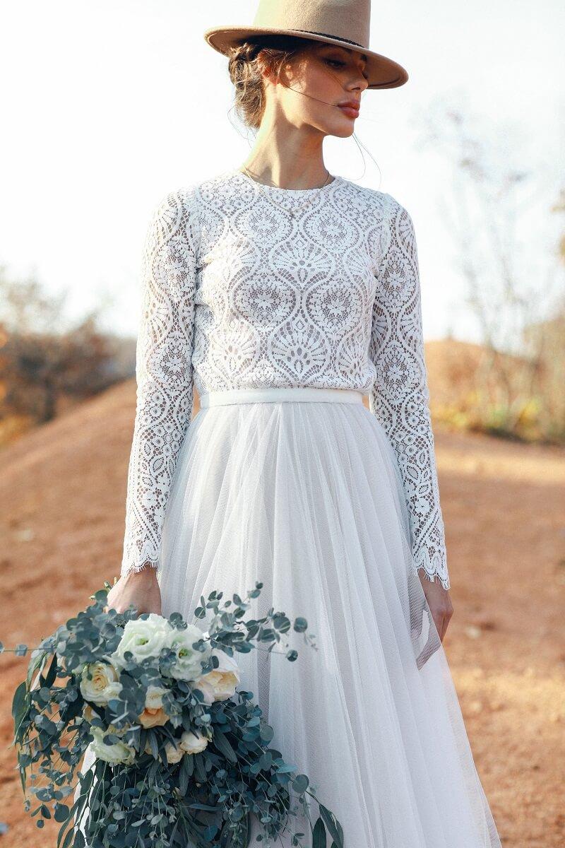 Hochzeitskleid Boho mit langen Ärmeln