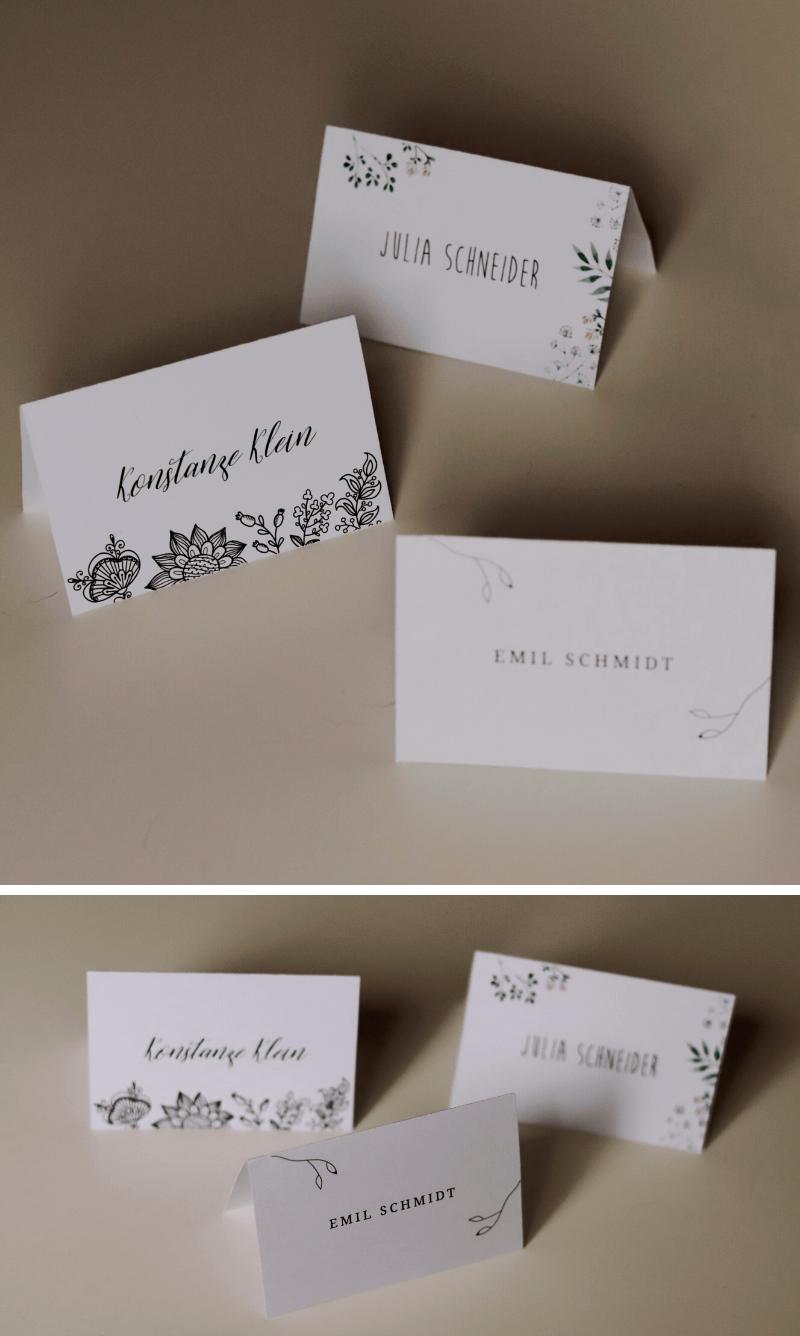 Hochzeit Tischkarten Vorlagen
