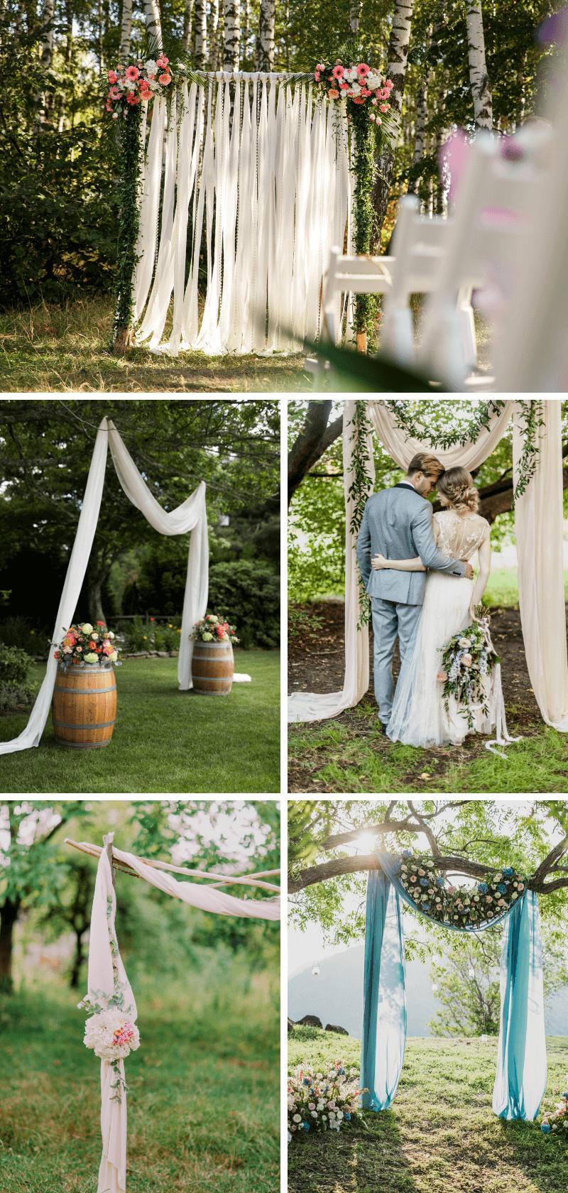 Hochzeitsbogen mit Tuch, Hochzeitsdeko mit Stoffen