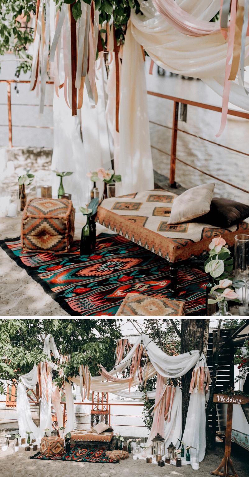 Hochzeitsdeko mit Stoffen, Boho Hochzeitsdeko