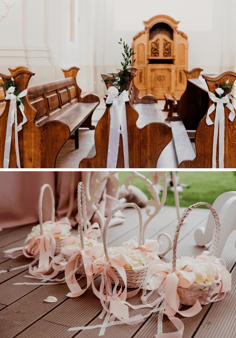 Kirchendeko, Hochzeitsdeko mit Stoffen