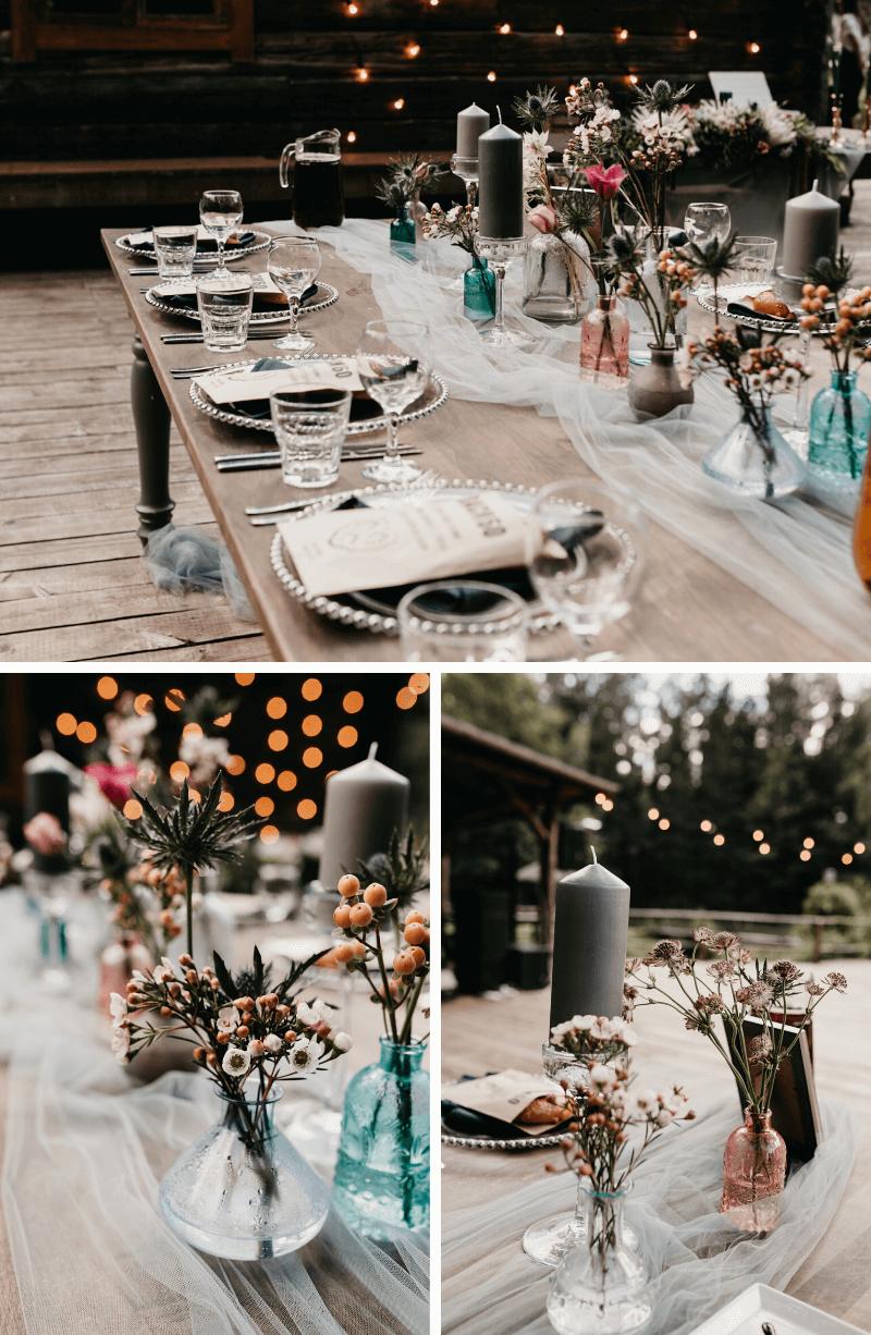 Hochzeitsdeko mit Stoffen, Tischläufer Tüll Hochzeit