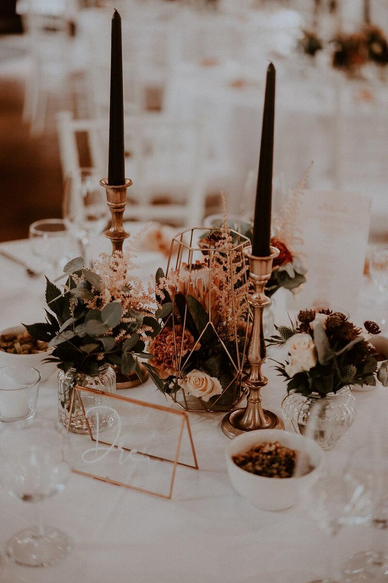 Tischdeko Kupfer, Hochzeit in Kupfer