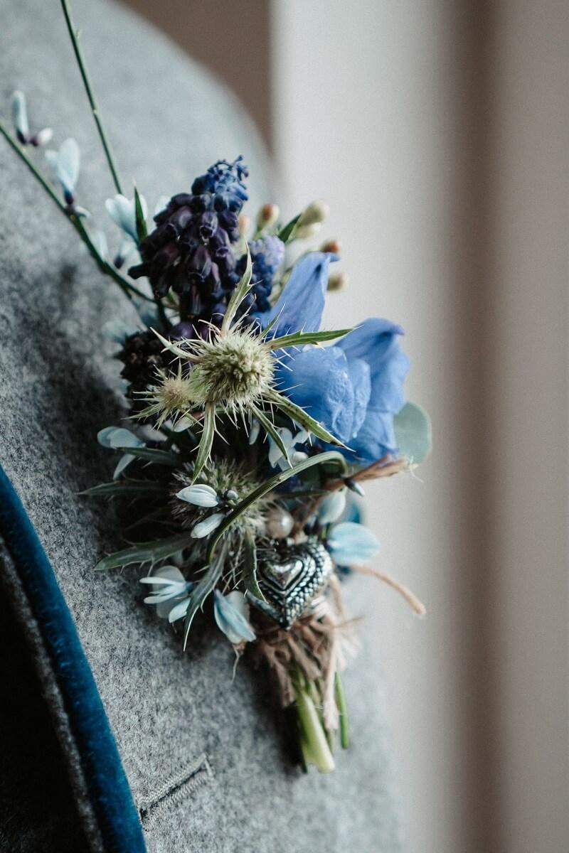 Bräutigam Anstecker blau rustikal