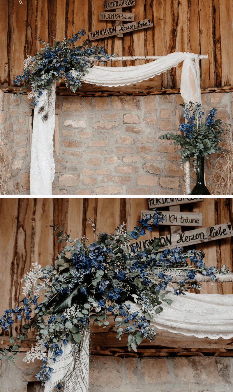 Hochzeitsbogen rustikal vintage mit Birken